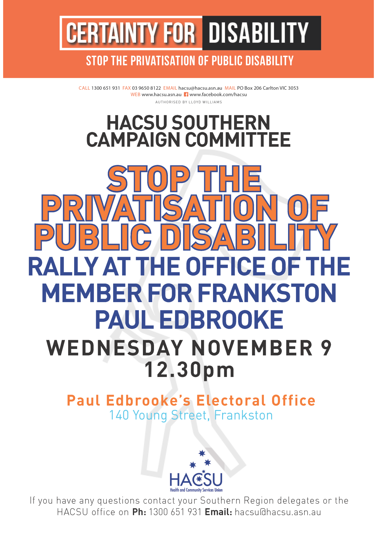 20161103 Southern CC_ rally at Paul Edbroke's office