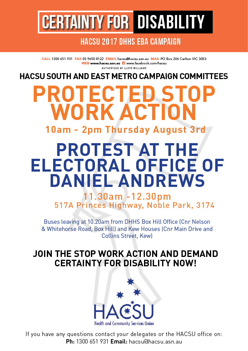 South and East Metro Daniel Andrews Stop Work 3 Aug 2017 2