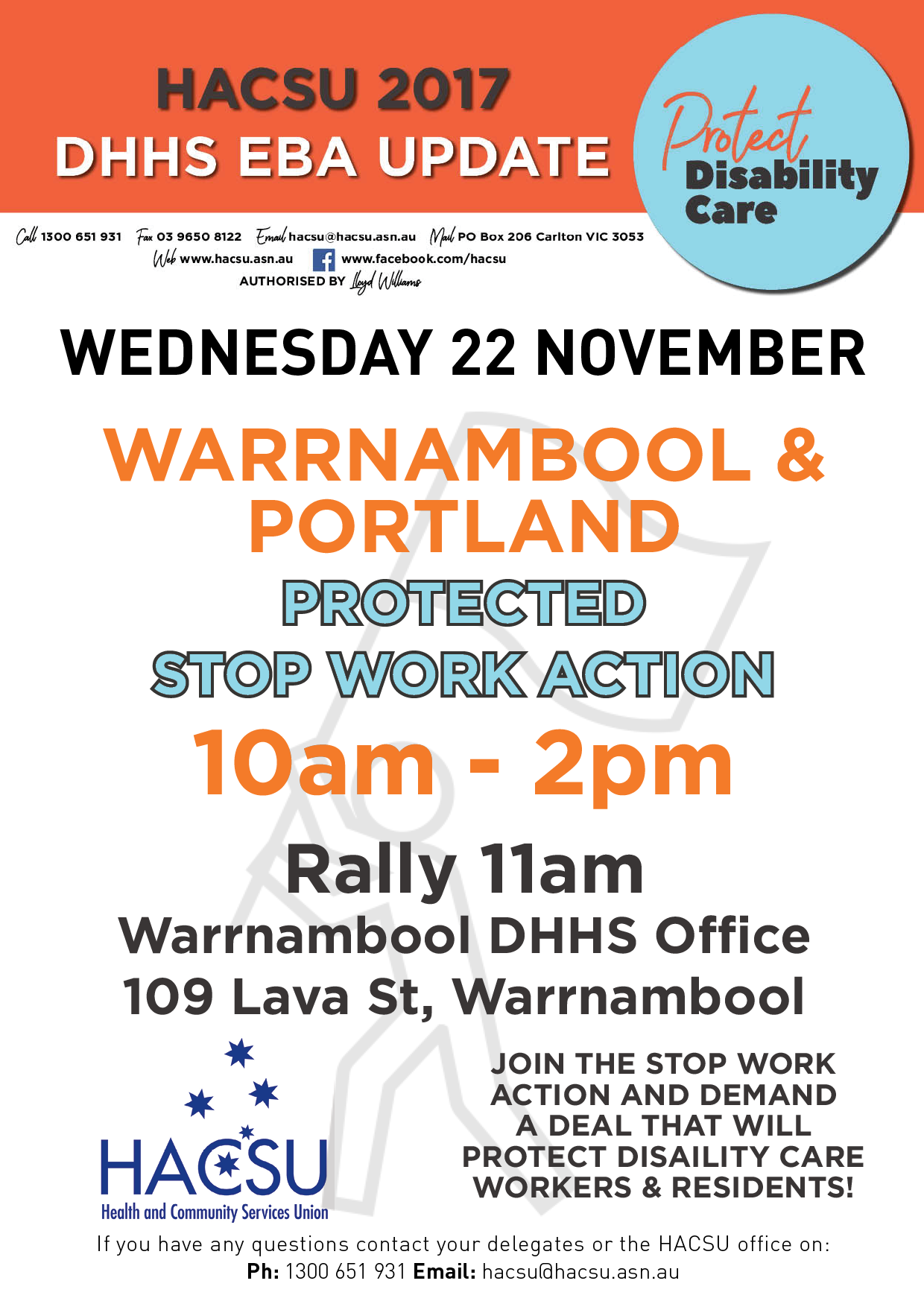 20171113 Warrnambool stop work