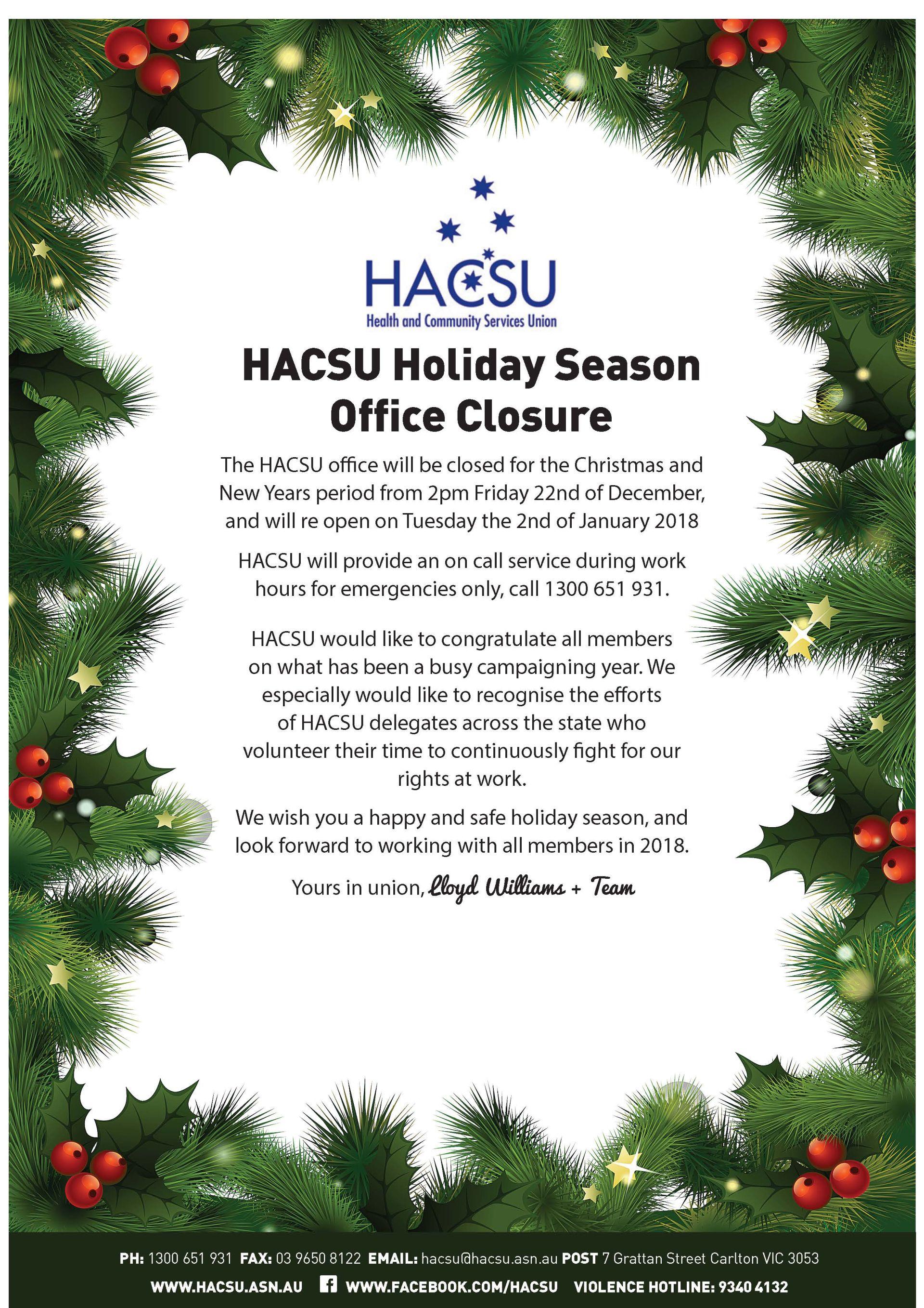 20161207 Christmas shutdown newsletter