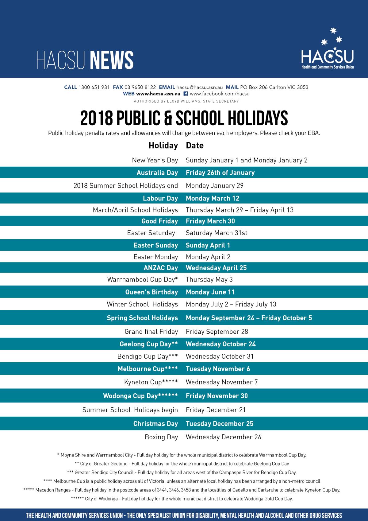 2018 Public holidays