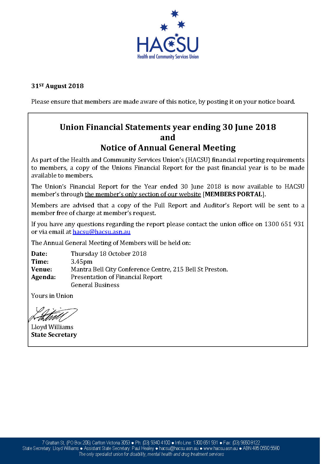 Fin Report and AGM Notice 2018 to delegates