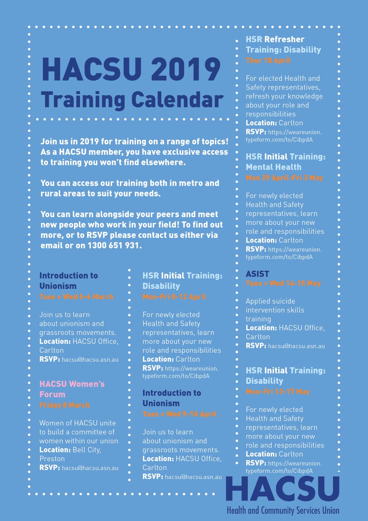 2019 Training Calendar