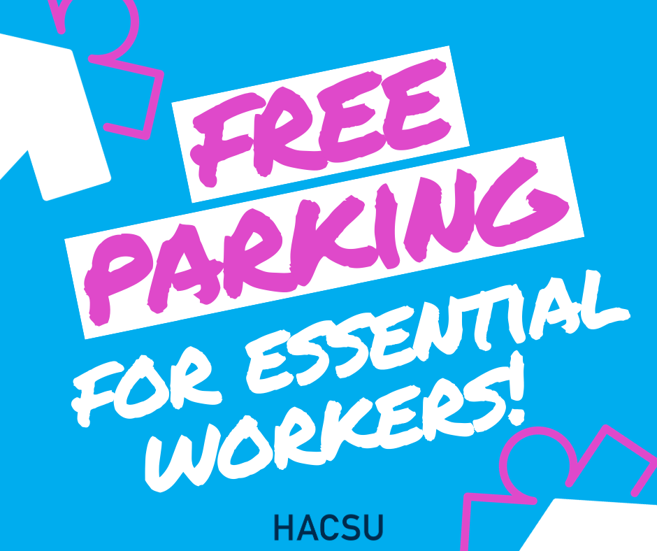 free parking for essential workers!