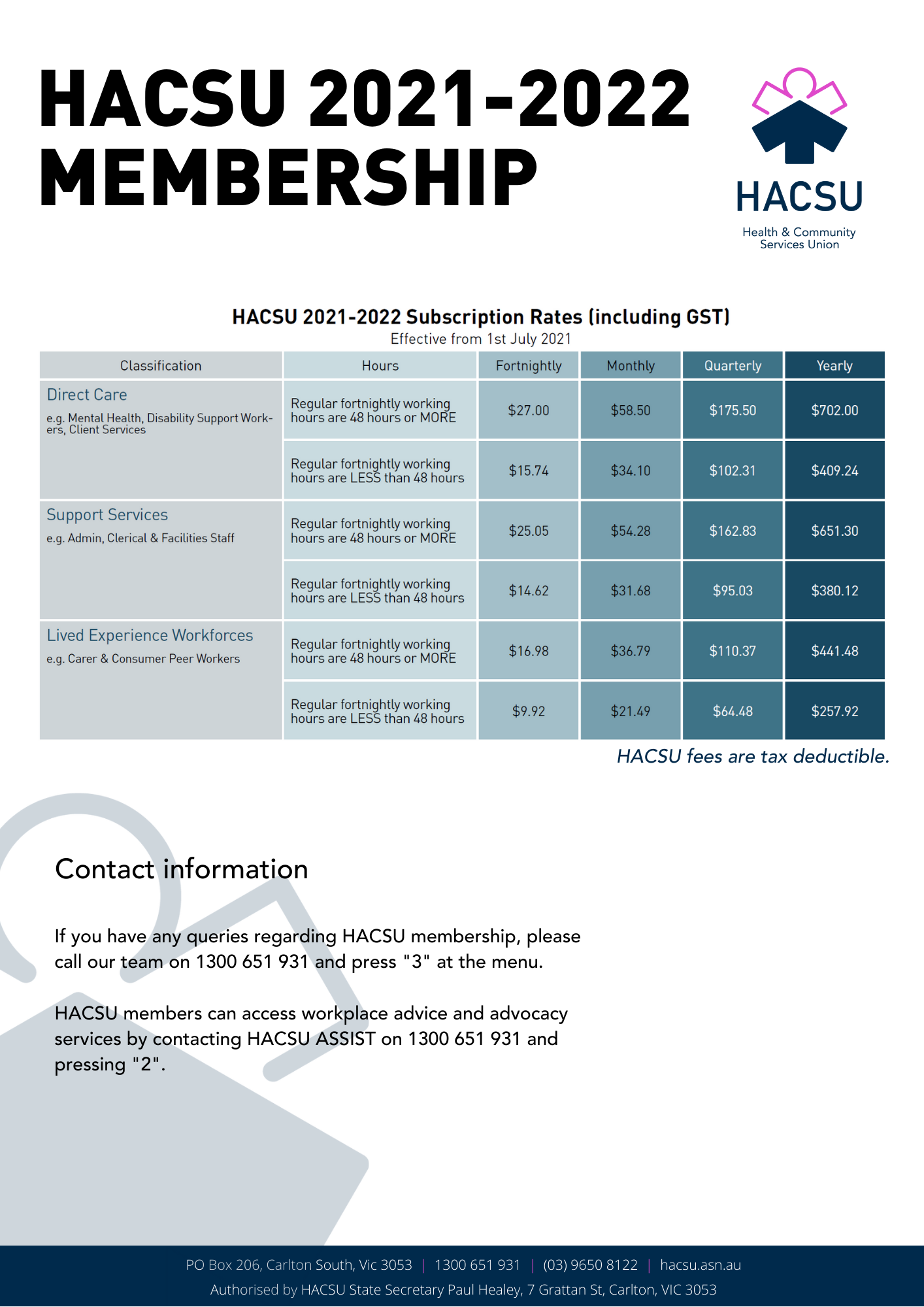 HACSU 2021-2022 Membership